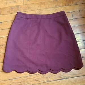 lush scalloped mini skirt